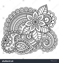 Mehndi flower pattern for Henna drawing and tattoo. Decoration in ethnic oriental, Indian style. Henna Drawings, Easy Drawings, Mandala Drawing, Mandala Art, Arte Mehndi, Bordado Popular, Mehndi Flower, Pencil Drawings Of Girls, Relaxing Art