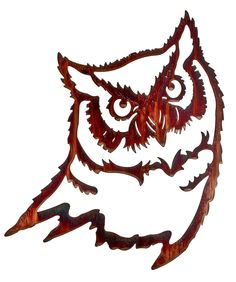 Great Horned Owl Head Laser Cut Metal Wall Art