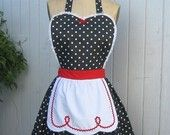 I LOVE LUCY $26 apron; wear with black skirt and white collar shirt; lucy red wig