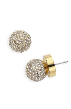 pave ball stud earrings with gold and clear crystal