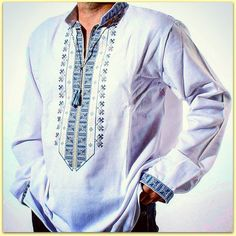 """NEW HANDMADE EMBROIDERED   UKRAINIAN MEN'S Homespun Cloth PEASANT SHIRT    """"VYSHYVANKA""""    Cotton 100%    Pattern is embroidered directly on the shirt fabric (not sewn braid)     Узор вышит прямо на ткани рубашки (не на вшитой тесьме)      Item location - Ukraine  Delivery to U.S. and Canada - 3 weeks, to Europe - 10-14 days    Measurements:     Chest -  120 cm ( 47.24 inches)   Sleeve lenth -  66 cm (25.98 inches)    Shouldert-shoulder distance -  50 cm (19.69 inches)    Lenth on the back…"""