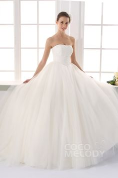 Charming Strapless Train Tulle Ivory Sleeveless Lace Up-Corset Wedding Dress with Appliques LD2127
