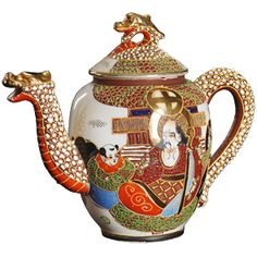Japanese Dragonware, 1930s, a pottery that typically has raised decorations of dragons. The pattern combines Moriage (raised decoration, often enameled) & a motif known as Satsuma.