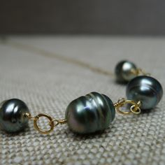 Tahitian Pearl Necklace on Gold Chain by AUREATA on Etsy, $110.00