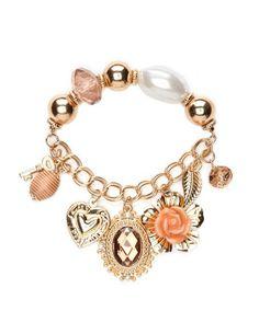 Enamel Flower Charm Bracelet: Charlotte Russe