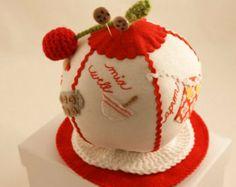 "Ball Pincushion ""In The Kitchen"" Custom Pincushion Crochet Cherry Cookie Sewing Pins Kitchen Pincushion Novelty Pincushion Pin Cushion"