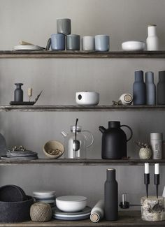 Beautiful open shelving for the vintage inspired, industrial chic kitchen ( muted colours/ matte finish )