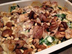 Romige ovenschotel: kip, brie, champignons, spinazie en zoete aardappel
