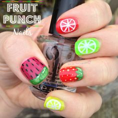 I been dranking... watermelon nails? Fruit punch inspired nails!   #bbloggers #nails #fruit #nailart