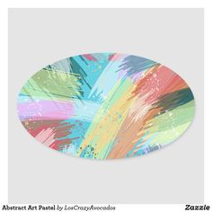 Abstract Art Pastel Oval Sticker