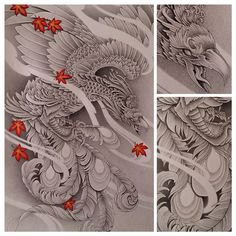 A Phoenix or a mean looking rooster? @johnny_van_nguyen #phoenix #rooster #alotoffknfeathers #japa - alexander_chang_art