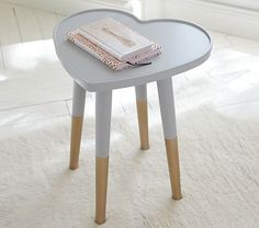 The Emily & Meritt Heart Side Table is so fun and mod! #pbkids #homedecor #interiorstyling