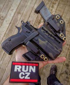 CZ Appendix Carry Rig Holster with Shockcord Sidecar, Cz 75, Threaded Barrel, Iwb Holster, Kydex, Guns And Ammo, Firearms, Shotguns, Shotgun