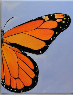 Monarch Butterfly Hand Painted Acrylic 8 in x 10 in Canvas by Butterfly June www.bflyjune.Etsy.com $60.00