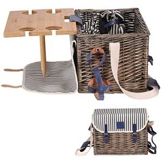 Picnic Basket Set - Removable Bamboo Table - Cotton Canvas Top Cover Person Set] Waterproof Picnic Blanket, Ceramic Plates, Metal Flatware, Wine Glasses S/P Shakers Wooden Bottle Opener Picnic Set Waterproof Picnic Blanket, Wicker Hamper, Wicker Picnic Basket, Bamboo Table, Plates For Sale, Picnic Set, Beach Picnic, Patio Furniture Covers, Ceramic Plates