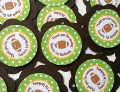 Football Theme Favor Tags - Football Birthday Party Decorations  in Green & Brown. $7.00, via Etsy.
