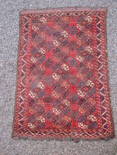Mid 19th C. Ersari main rug, size is 225x185 cm. Overall really nice, although does show wear such as very low pile in areas and small damages to selvages. One small repaired  ...