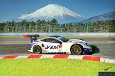 "Honda HSV 010 in Diorama ""Track Curve"". 1/32 scale  #honda #hsv #wec #wtcc #diorama #scenary #slot #slotcar #scalemodel #scalextric #base #curva #circuito #track #dreamcar #fuji #fujispeedway #japan #mountain #landscape Diorama, Land Scape, Honda, Racing, Circuit, Curves, Running, Auto Racing, Dioramas"