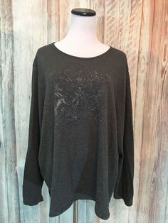 LRL Lauren Jeans Co Gray Tee Shirt Knit Top Shield Graphic Bead Cotton 3X EUC! #LaurenJeansCo #KnitTop #Casual