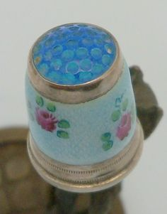 Enamel Floral Sterling Thimble with Blue Glass Jeweled Top Germany 11 size / $209