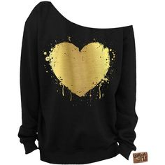 Valentine's Day Heart Foil Slouchy Sweatshirt Grunge Splatter Heart... ($28) ❤ liked on Polyvore featuring tops, hoodies, sweatshirts, shirts, sweaters, dark olive, women's clothing, off shoulder tops, off shoulder shirt and loose shirts