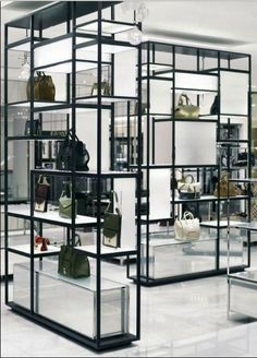 Display shelving by Yabu Pushelberg