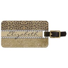 Leopard Spot Gold Glitter Rhinestone PHOTO PRINT Luggage Tag