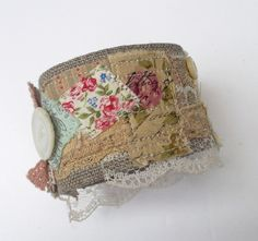 Cuff Bracelet  with patchwork