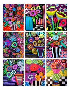 Flowers ACEO Card print set by Heather Galler Abstract Modern Folk Art Floral