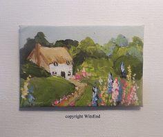 Dollhouse Cottage painting original miniature shadow box art Hollyhock Cottage