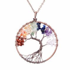 Chakra Necklace, Necklace Types, Stone Necklace, Pendant Necklace, Crystal Necklace, Tree Of Life Necklace, Tree Of Life Pendant, Crystal Tree, Crystal Pendant