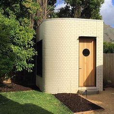 Good things come in small yoga studios. Sweet little yoga studio with curved brickwork tucked away in a the corner of the yard (soon to be lush garden) of a recently completed private residence in Melbourne by bowerbird. Australian Architecture, Formal Gardens, Lush Garden, Brickwork, Architects Melbourne, Backyard, Yoga Studios, Outdoor Decor, Instagram Posts