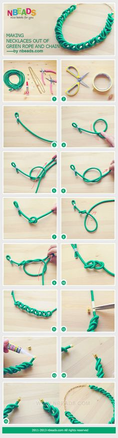 making necklaces out of green rope and chain