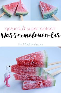 Wassermelonen-Eis am Stiel The watermelon popsicles are healthy, free of artificial additives and perhaps even the simplest recipe in the world. Perfect as a light refreshment on hot summer days, for children's birthday parties or as a delicious dessert. Healthy Fruits, Healthy Recipes, Healthy Food, Pop Sicle, Vegan Ice Cream, Ice Cream Recipes, Gelato, Watermelon, Healthy Living