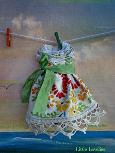 BLYTHE DOLL Dress - OOAK -  vintage embroidery feature dress & silky sash by LittleLovelieShop on Etsy