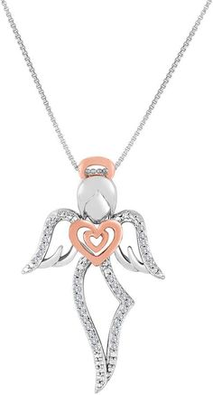 FINE JEWELRY ForeverMine 1/10 CT. T.W. Diamond Two-Tone Angel Pendant Necklace