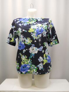 Charter Club Tunic Knit Top Plus Size 1X Women's Floral Boat Neck Short Sleeves  #CharterClub #Tunic #Career