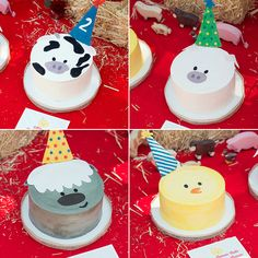 Close up of animal cakes from Catherine Haebe of Knead to Make to match Barnyard Crew Minted invitation.