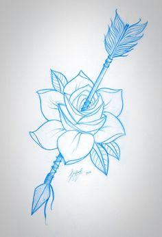 Rose and arrow sketch arrow tattoo Arrow Tattoo Design, Sketch Tattoo Design, Tattoo Sketches, Tattoo Drawings, Tattoo Arrow, Meaning Of Arrow Tattoo, Rose Tattoos, Flower Tattoos, Body Art Tattoos
