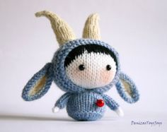 Blue Goat Doll. Tanoshi series toy. PDF knitting pattern. Cute gift for kids. Nursery decoration pattern