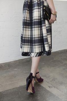 A-Thread Plaid Midi 50s Full Skirt