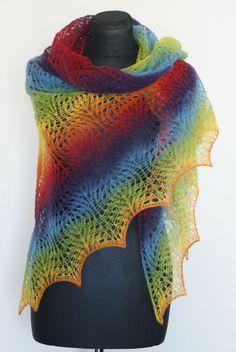 Rainbow Shawl Hand Knitted Triangular Wool Lace Shawlette Colorfull.