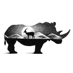 Gorgeous Double Exposure Wildlife Illustrations By Thiago Bianchini Gorgeous… Animal Drawings, Art Drawings, Drawings Of Elephants, Rhino Tattoo, Rhino Art, Dotted Drawings, Stippling Art, Animal Silhouette, Cool Sketches