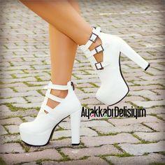 Olhem Beyaz Kalın Topuklu Platform Ayakkabı #bootie
