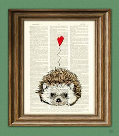 I Love You Valentine HEDGEHOG with heart print over an upcycled vintage dictionary page book art Buy 3 get 1 Free. $7.99, via Etsy.