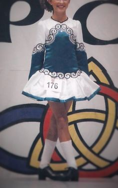 Striking Turquoise Irish Dance Dress Solo Costume For Sale