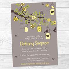 Mason Jar Baby Shower Invitation Yellow by EasyInvites on Etsy, $11.00