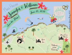 Custom Wedding MAP Any Location by FeatheredHeartPrints on Etsy - Maui Hawaii wedding map