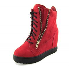 $190.00 Red leather wedge high top sneakers from Giuseppe Zanotti featuring a metal plaque at the heel, lace up closure, gold tone zip detailing and metallic leather trim to the mouth.