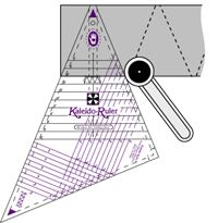 Cut both triangles for Kaleidoscope blocks with one multi-size tool. Available in 2 sizes, from 2 inch to 16 inch blocks. More details are on our website, along with a video.  http://www.frommarti.com/kruler.shtml